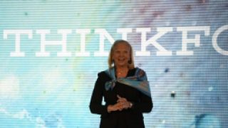 IBM CEO Ginni Rometty waves cognitive flag in Australia